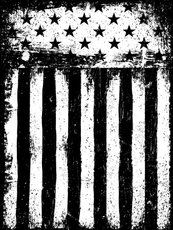 Étoiles et rayures. Monochrome Negative fond de drapeau américain photocopier. Grunge Aged Template Vector. Orientation verticale.