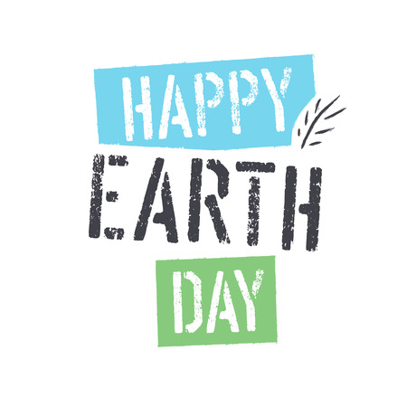 dirty t shirt: Happy Earth Day. lettering with Leaf Symbol. Isolated icon design Illustration