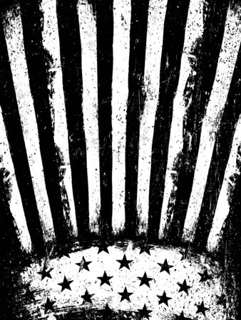 history month: Monochrome Negative Photocopy American Flag Background. Grunge Aged VectorTemplate. Vertical orientation.