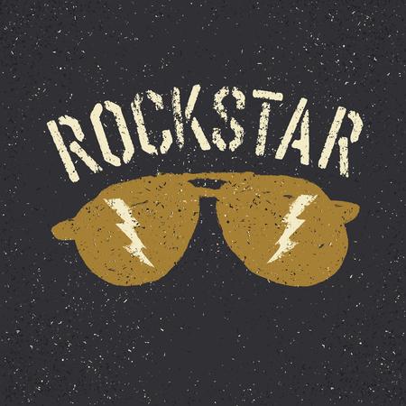 Print design: Sunglasses with thunderbolt. Rockstar tee print design template