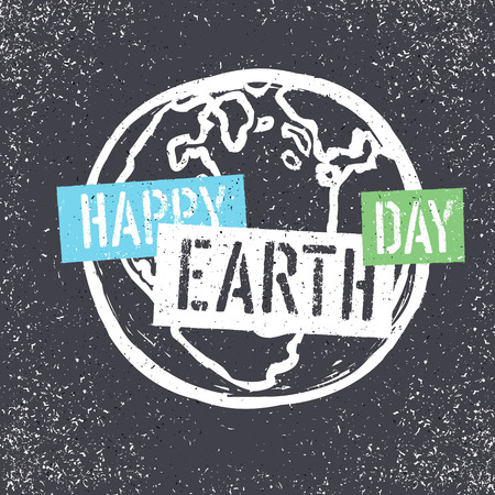 dirty t shirt: Happy Earth Day. Grunge lettering with Earth Symbol. Stencil grunge alphabet. Tee print design template