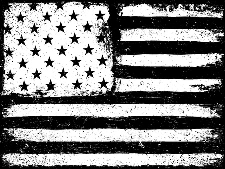 black and white background: Stars and stripes. Monochrome Negative Photocopy American Flag Background. Grunge Aged VectorTemplate. Horizontal orientation.