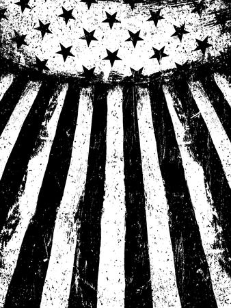 Monochrome Negative Photocopy American Flag Background. Grunge Aged Vector Template. Vertical orientation.