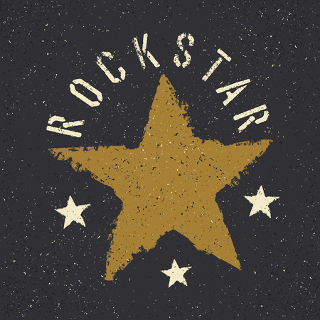 rockstar: Rockstar. Grunge star with lettering. Tee print design template