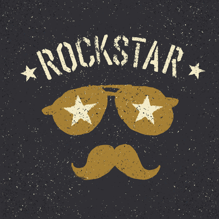 dirty t shirt: Rockstar. Sunglasses with stars and moustache with lettering. Tee print design template Illustration