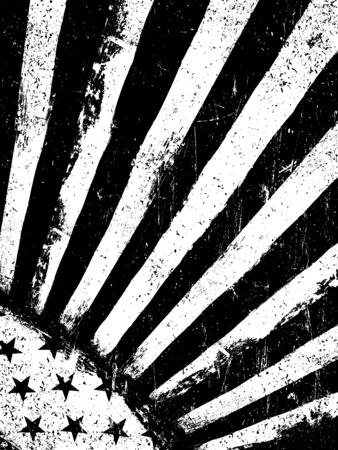vertical orientation: Stars and Rays. Monochrome Negative Photocopy American Flag Background. Grunge Aged VectorTemplate. Vertical orientation.