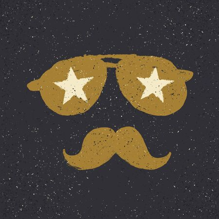 joke glasses: Sunglasses with stars and moustache. Tee print design template
