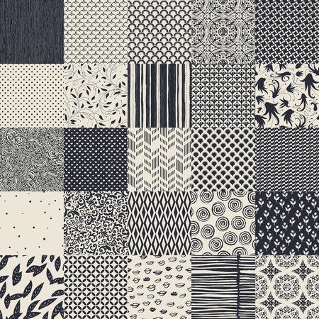 25 シームレス異なる白黒パターン。幾何学的な花、装飾、手描きのパターンのコレクション。  イラスト・ベクター素材