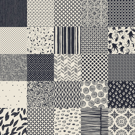 25 seamless different vector monochrome patterns. Geometric, floral, ornamental, hand drawn patterns collection. Stock fotó - 53603143