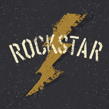 rockstar: Rockstar. Sunglasses with stars and moustache with lettering. Tee print design template Illustration