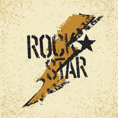 Rockstar. Grunge lettering with thunderbolt symbol. Tee print design template