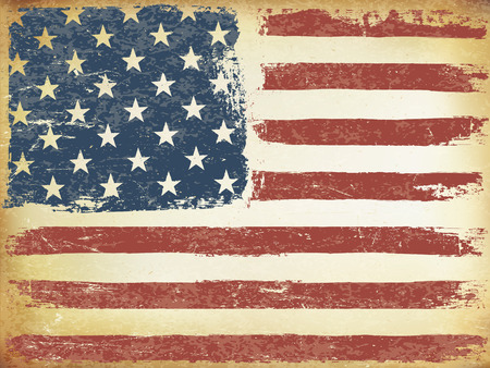 horizontal orientation: American Themed Flag Background. Grunge Aged Vector Template. Horizontal orientation. Illustration