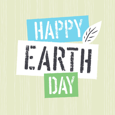 Happy Earth Day. Grunge lettering with Leaf Symbol.Textured layers easily remove