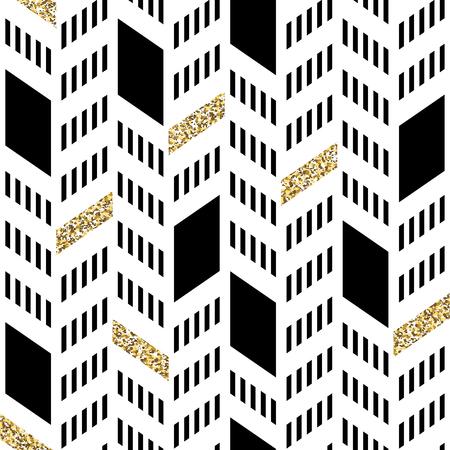 シームレスなシェブロン パターン。きらびやかなゴールドと細い線