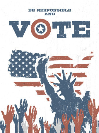 responsible: Be responsible and Vote! On USA map. Vintage patriotic poster to encourage voting in elections.