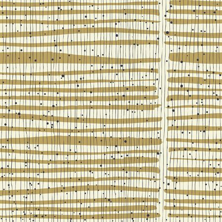 black fabric: Vertical lines and dots on bold golden stripes. Hand-drawn seamless vector pattern