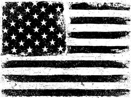 Antecedentes de la bandera americana. Envejecida del grunge de plantilla de vectores. La orientación horizontal. gama monocromo. En blanco y negro. Grunge capas pueden ser fácil de editar o eliminado. Ilustración de vector