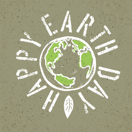 earth logo: Happy Earth Day. Grunge lettering with Earth symbol Illustration