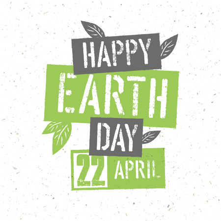 recycled paper: Typographic design for Earth Day. Concept Poster With Green Leaves. Vector Template. On recycled paper texture Illustration