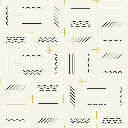 Geometric lines seamless pattern with golden elements Illustration