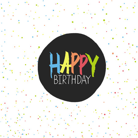 chaotic: Happy Birthday Lettering On Holidays Chaotic Dots Seamless Vector Pattern.