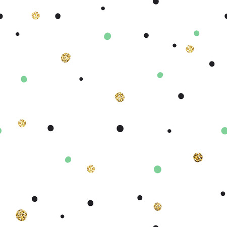 wallpaper dot: Abstract Seamless Pattern on White Background with Black and Golden and Green Chaotic Dots.Vector Template for Packaging Designs and Invitation Cards Decoration etc