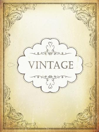 Etiqueta de la vendimia con el marco ornamental en fondo envejecido del papel del bveige. Vector de plantilla Ilustración de vector
