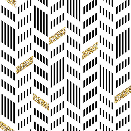 Seamless Chevron Pattern. With Glittering Gold and thin lines Ilustração