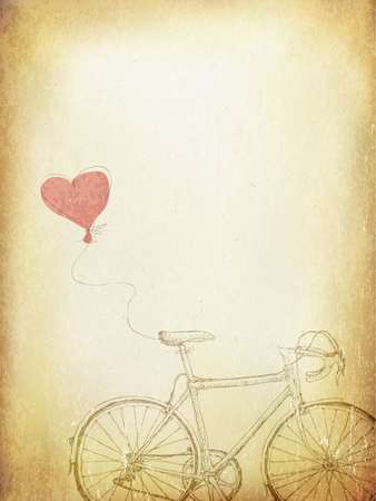 beige background: Vintage Valentines Illustration with Bicycle and Heart Baloon. Aged Vector Template Illustration