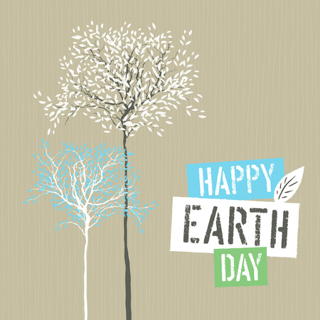 printing logo: Happy Earth Day Logotype on Recycled paper background. Template for Celebrating card