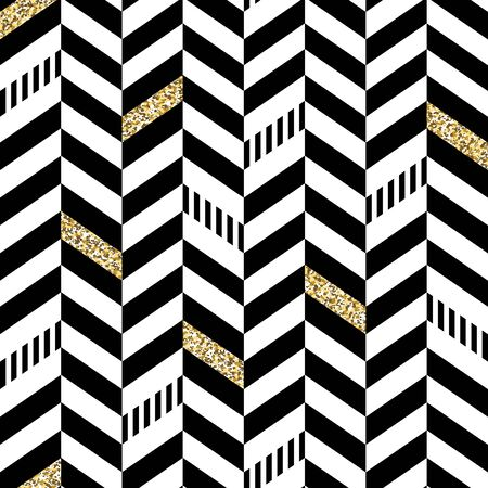 black yellow: Classic Seamless Chevron Pattern. With Glittering Golden Parts and thin lines Illustration