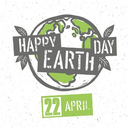 dirty t shirt: Typographic design for Earth Day. Concept Poster With Earth Symbol. Vector Template. On recycled paper texture Illustration