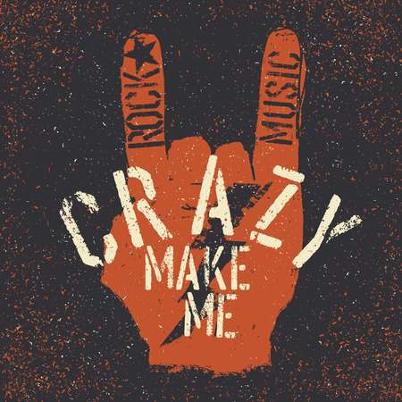 Rock music make me crazy. Grunge lettering with Rock On or Horn gesture and thunderbolt. Stencil grunge alphabet. Tee print design template Illustration