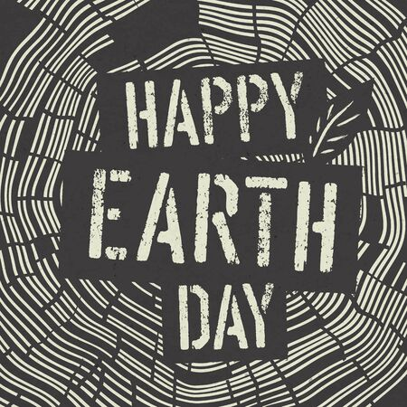 dirty t shirt: Happy Earth Day icon on Tree Rings Background. Template for Celebrating card