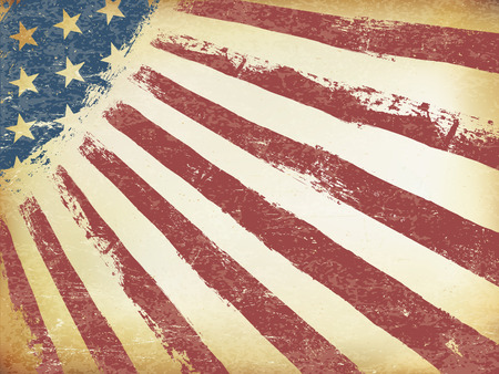horizontal orientation: Grunge Aged American Flag Background. Horizontal orientation, vector Template.