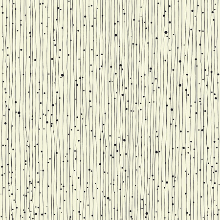 Thin vertical lines and dots. Seamless hand-drawn pattern Vettoriali
