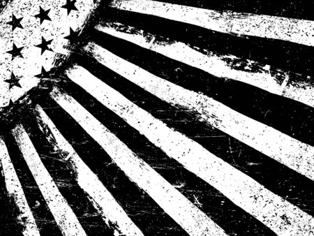 horizontal orientation: Monochrome Negative Photocopy American Flag Background. Grunge Aged VectorTemplate. Horizontal orientation.