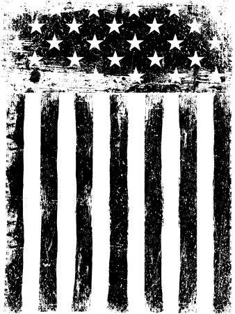Stars and Stripes. Monochrome Photocopy American Flag Background. Grunge Aged Vector Template. Vertical orientation.