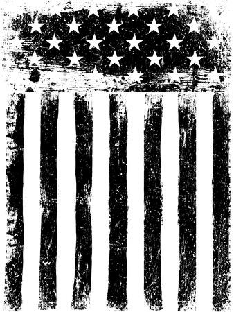 bandera: Estrellas y rayas. Antecedentes monocromática bandera americana de la fotocopia. Envejecida del grunge de plantilla de vectores. orientación vertical. Vectores