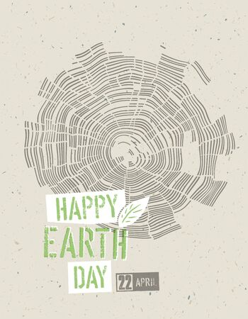 tree rings: Happy Earth Day Poster. Tree rings symbolic illustration on the recycled paper texture. 22 April