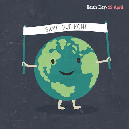 Earth Day Poster. Earth Cartoon Illustration. On dark grunge texture. Grunge layers easily edited. Illustration