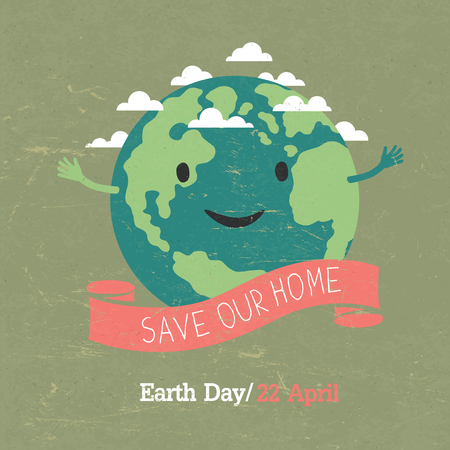 easily: Vintage Earth Day Poster. Cartoon Earth Illustration. On grunge texture. Grunge layers easily edited. Illustration
