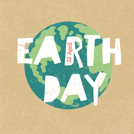 earth friendly: Earth Day Illustration. Earth day, 22 April. Paper cut letters