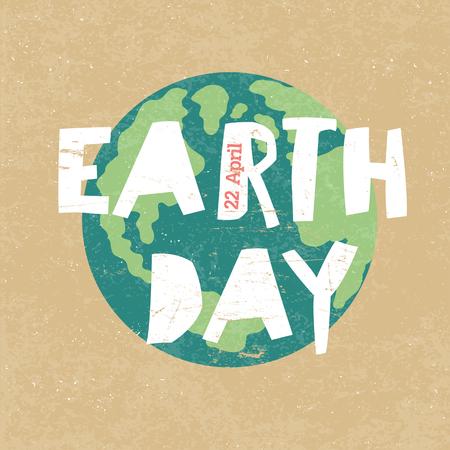 Tag der Erde Illustration. Tag der Erde am 22. April. Papierschnitt Buchstaben Vektorgrafik