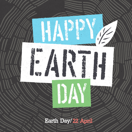 tree rings: Happy Earth Day Logotype on Tree Rings Background. Template for Celebrating card Illustration