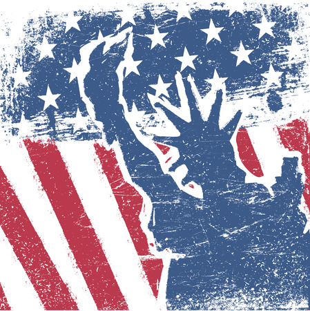 American flag and liberty statue silhouette grunge background