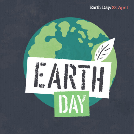 Earth Day Poster. Earth Illustration. Earth Day Logotype. On dark grunge texture. Grunge layers easily edited.