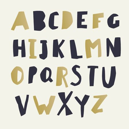 hand paper: Paper Cut Alphabet. Black and gold letters. Illustration