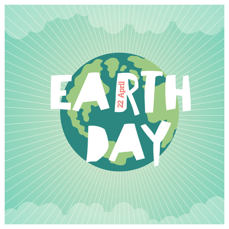 漫画地球のイラスト。惑星は笑顔し、言葉「私の保存」でバナーを保持します。ビンテージの地球の日」ポスター。光線、雲、空。ホワイト リボン