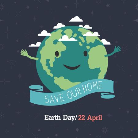 """wereldbol: Aarde dag, 22 april. """"Save our home"""". Cartoon Aarde illustratie. Ecology concept. Stock Illustratie"""